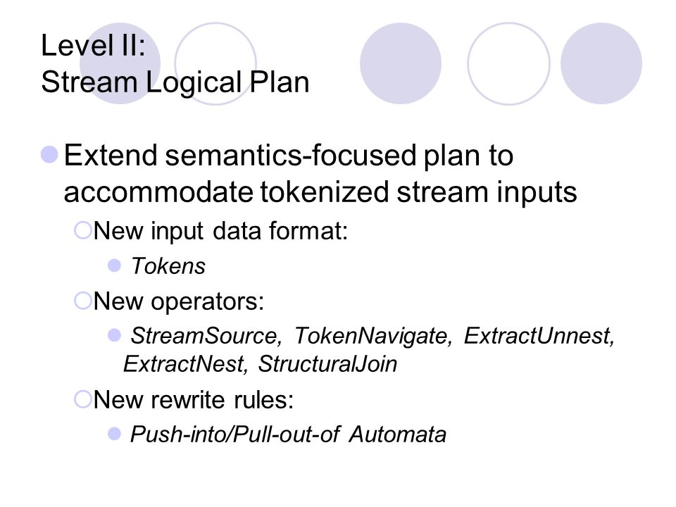 Level II: Stream Logical Plan Extend semantics-focused plan to accommodate tokenized stream inputs  New input data format: Tokens  New operators: StreamSource, TokenNavigate, ExtractUnnest, ExtractNest, StructuralJoin  New rewrite rules: Push-into/Pull-out-of Automata