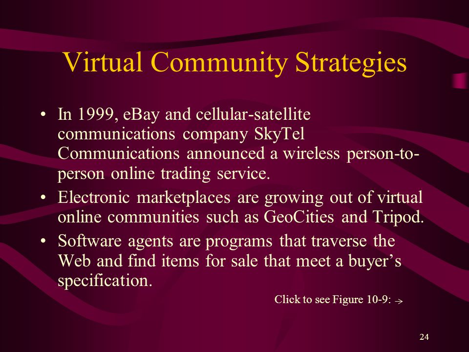 24 Virtual Community Strategies In 1999, eBay and cellular-satellite communications company SkyTel Communications announced a wireless person-to- person online trading service.