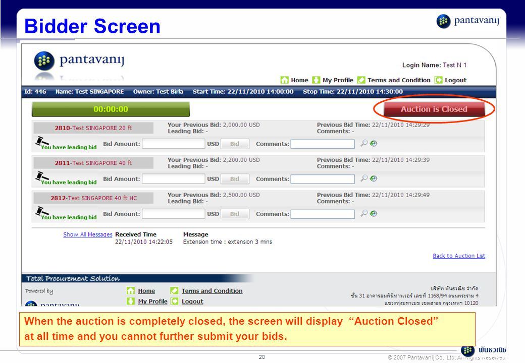 "© 2007 Pantavanij Co., Ltd. All Rights Reserved 20 Bidder Screen When the auction is completely closed, the screen will display ""Auction Closed"" at al"