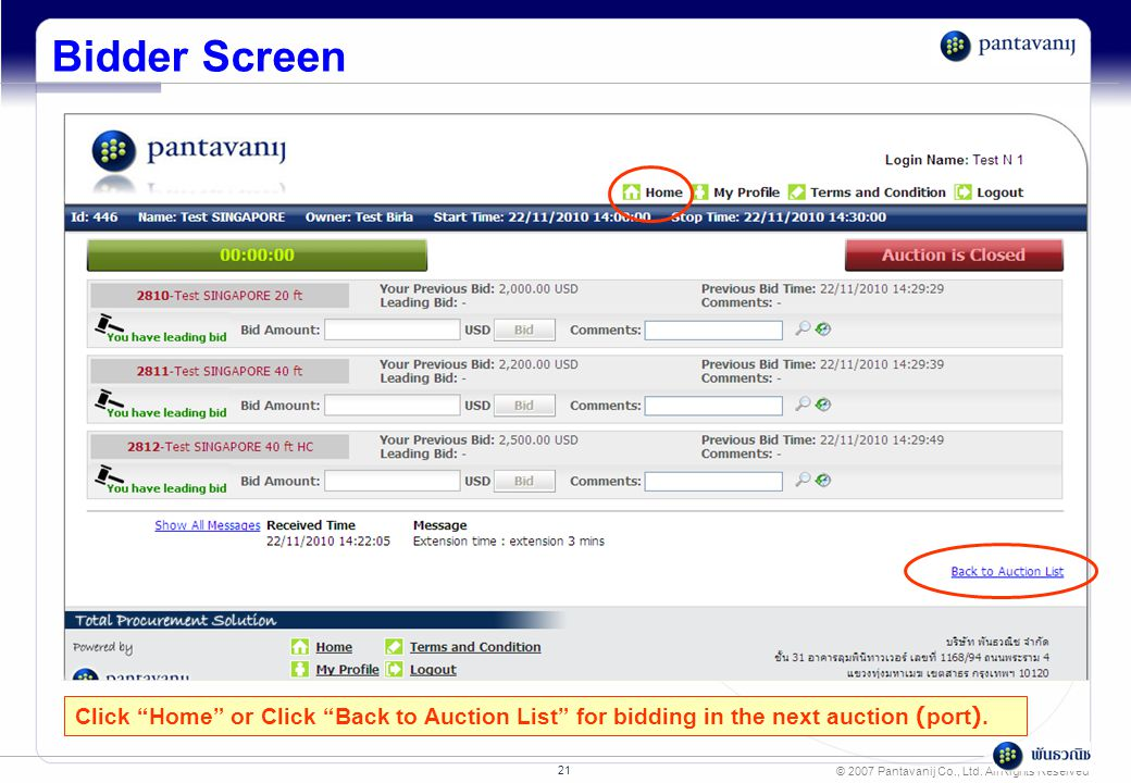"© 2007 Pantavanij Co., Ltd. All Rights Reserved 21 Bidder Screen Click ""Home"" or Click ""Back to Auction List"" for bidding in the next auction (port)."