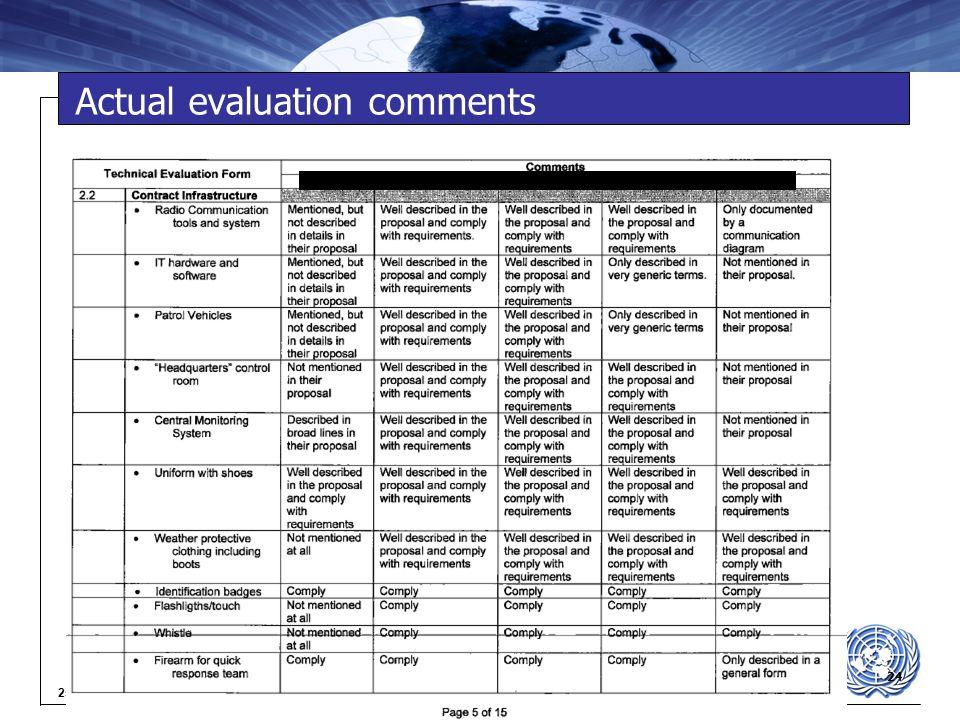 24 25-04-2015 Actual evaluation comments