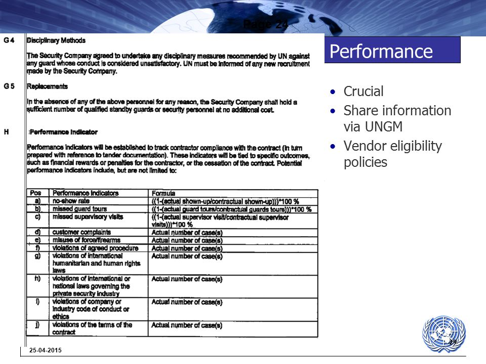 29 25-04-2015 Performance Crucial Share information via UNGM Vendor eligibility policies Page 24