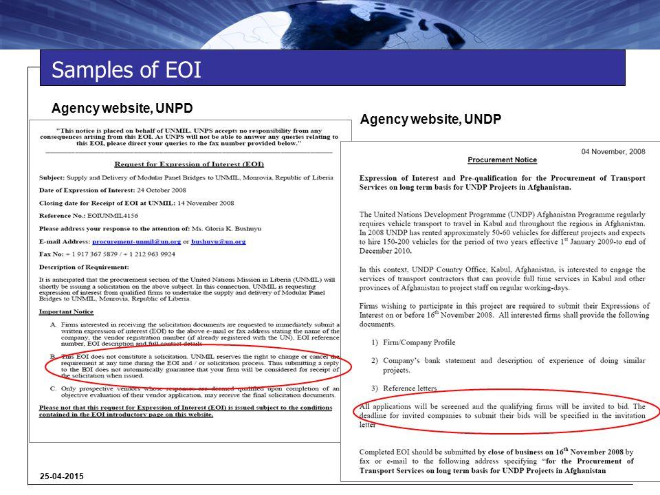 6 25-04-2015 Samples of EOI Agency website, UNPD Agency website, UNDP
