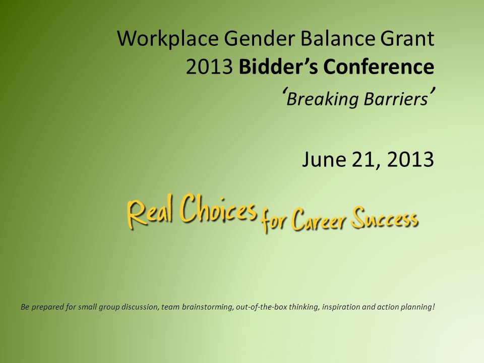 Workplace Gender Balance Grant 2013 Bidder's Conference ' Breaking Barriers ' June 21, 2013 Be prepared for small group discussion, team brainstorming, out-of-the-box thinking, inspiration and action planning!