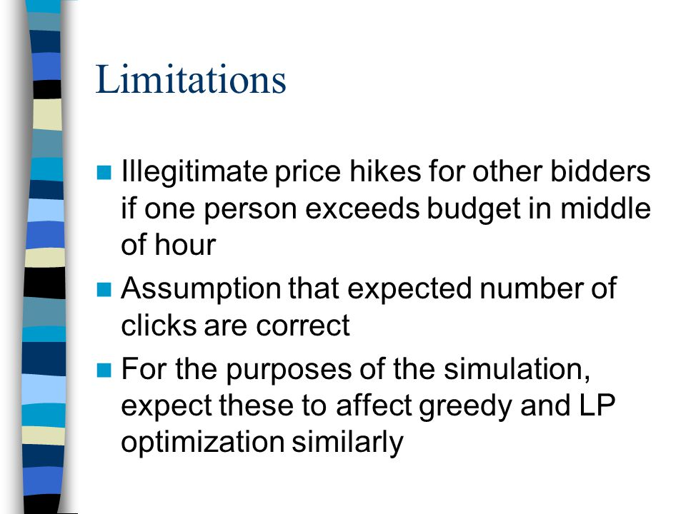 Limitations Illegitimate price hikes for other bidders if one person exceeds budget in middle of hour Assumption that expected number of clicks are correct For the purposes of the simulation, expect these to affect greedy and LP optimization similarly