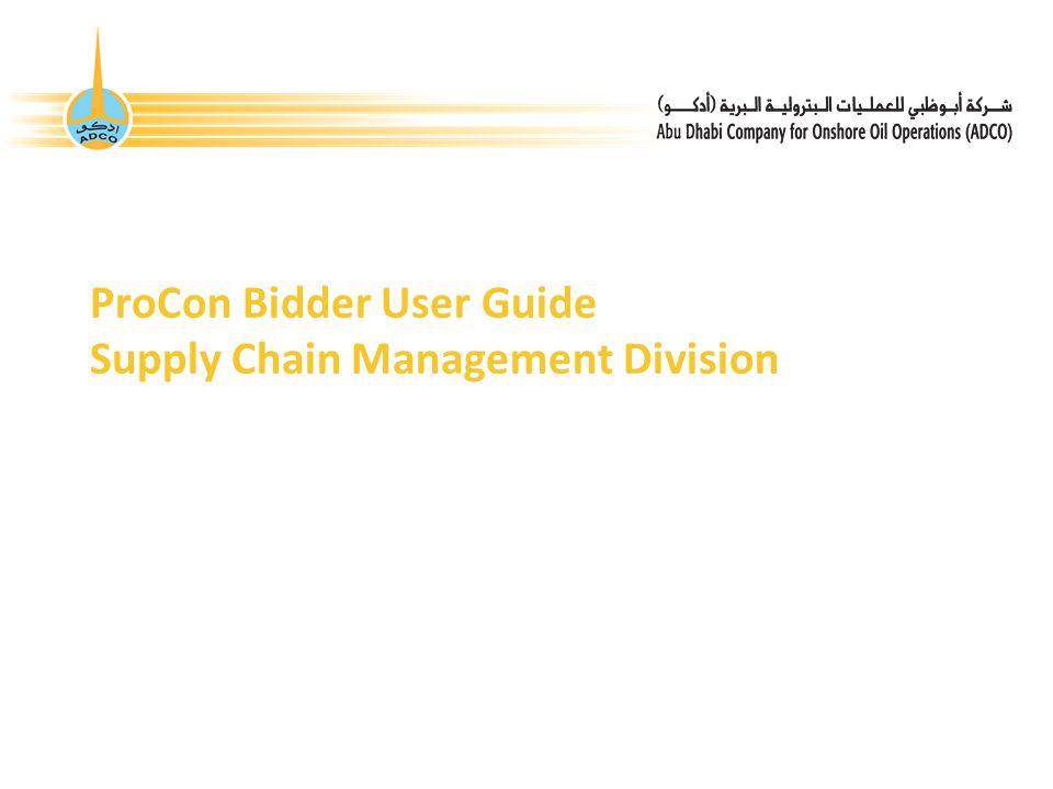 ProCon Bidder User Guide Supply Chain Management Division