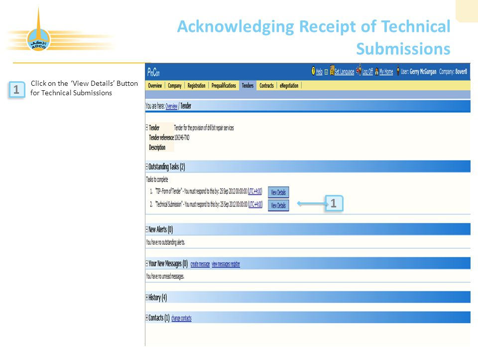 Acknowledging Receipt of Technical Submissions Click on the 'View Details' Button for Technical Submissions 1 1 1 1