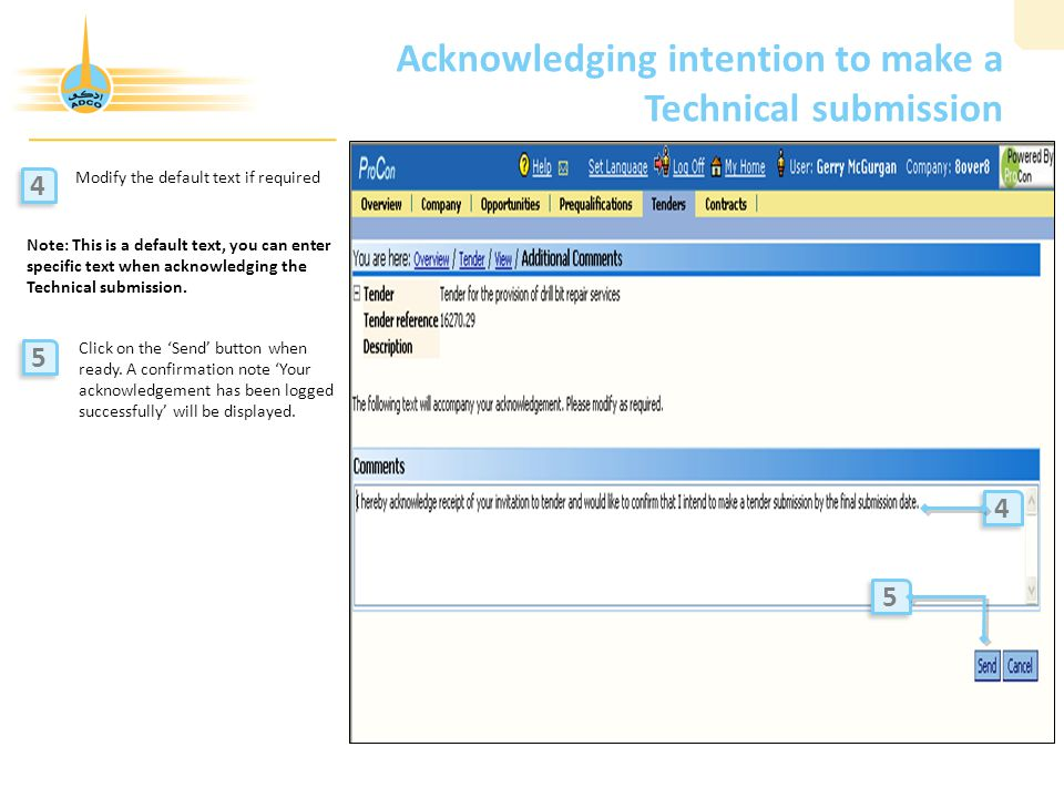 Acknowledging intention to make a Technical submission Modify the default text if required Click on the 'Send' button when ready.