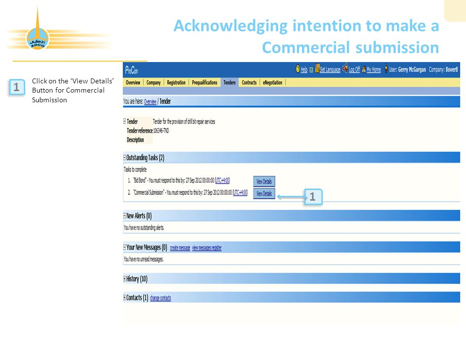 Acknowledging intention to make a Commercial submission Click on the 'View Details' Button for Commercial Submission 1 1 1 1