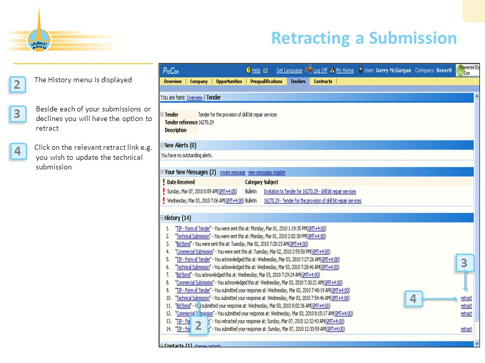 Retracting a Submission The History menu is displayed Beside each of your submissions or declines you will have the option to retract Click on the relevant retract link e.g.