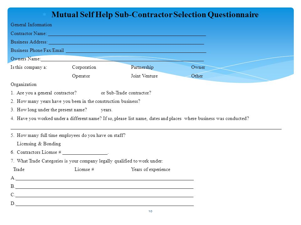  Mutual Self Help Sub-Contractor Selection Questionnaire General Information Contractor Name: _______________________________________________________