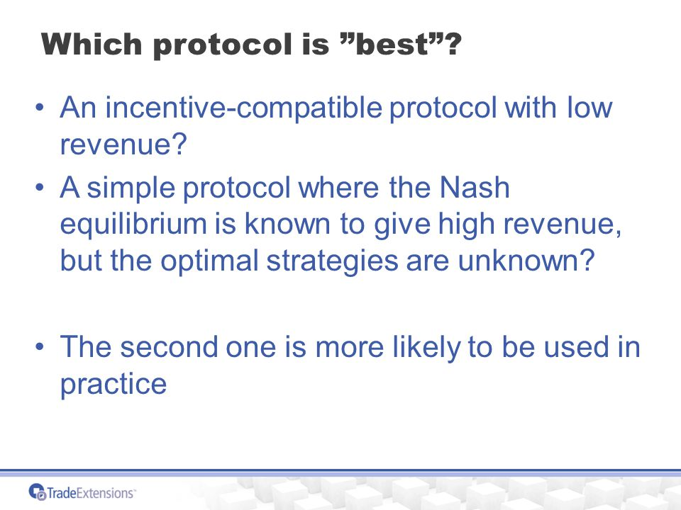 Which protocol is best . An incentive-compatible protocol with low revenue.