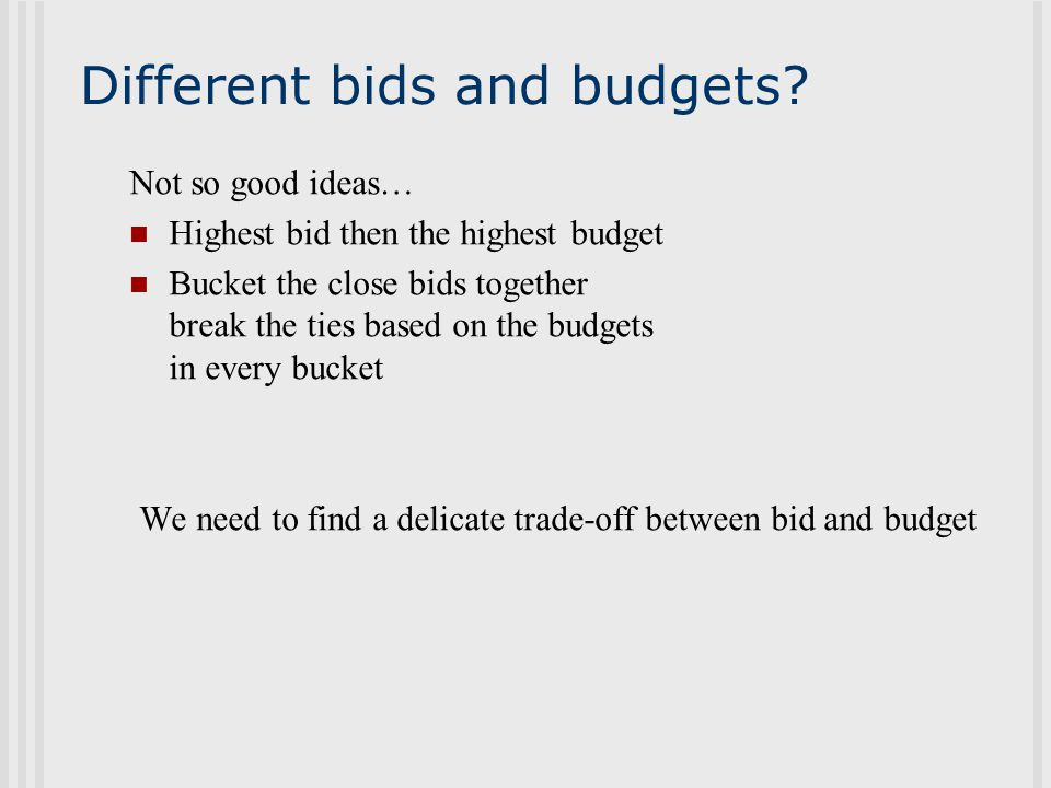 Different bids and budgets.