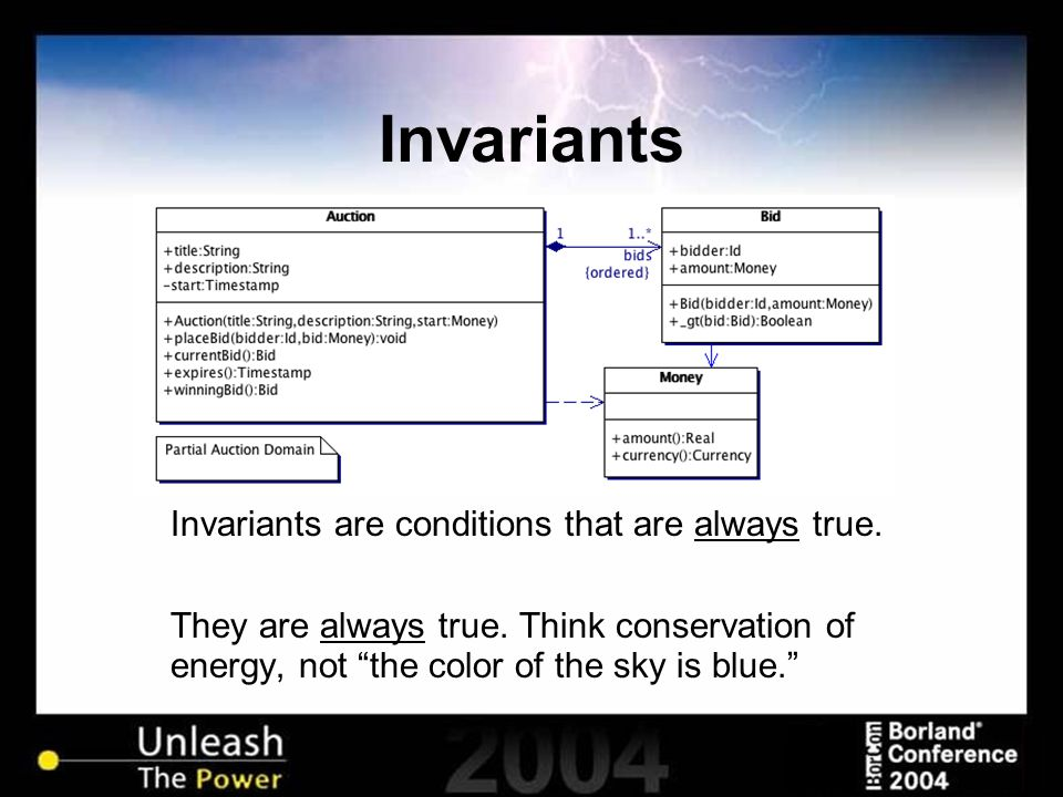 Invariants Invariants are conditions that are always true.