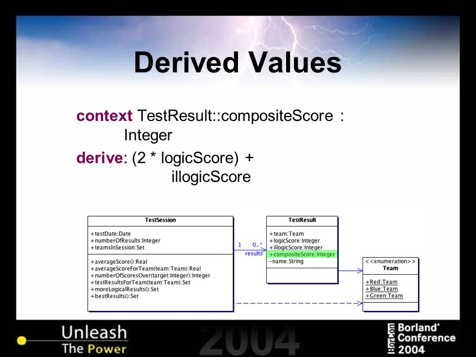 Derived Values context TestResult::compositeScore : Integer derive: (2 * logicScore) + illogicScore