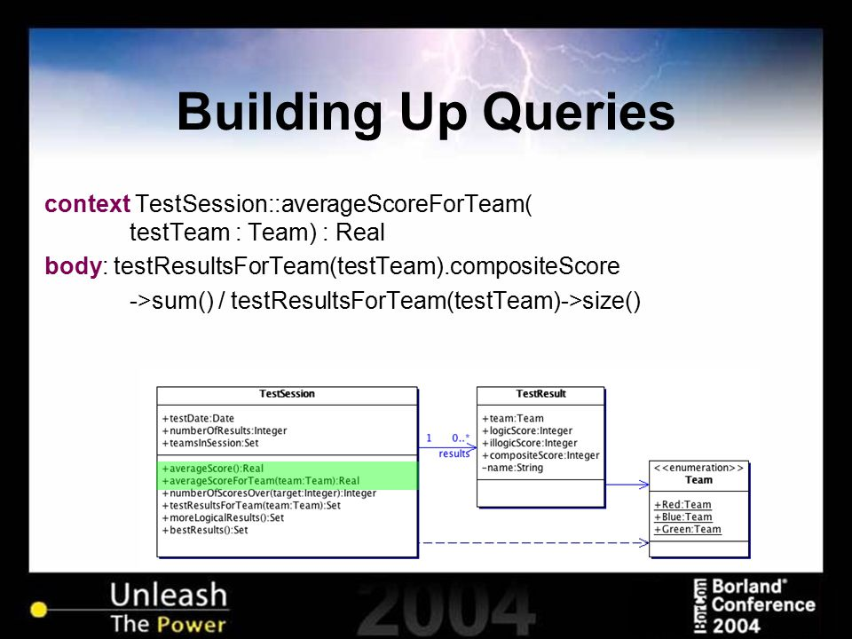 Building Up Queries context TestSession::averageScoreForTeam( testTeam : Team) : Real body: testResultsForTeam(testTeam).compositeScore ->sum() / testResultsForTeam(testTeam)->size()
