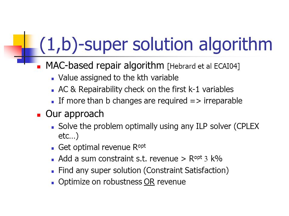 (1,b)-super solution algorithm MAC-based repair algorithm [Hebrard et al ECAI04] Value assigned to the kth variable AC & Repairability check on the first k-1 variables If more than b changes are required => irreparable Our approach Solve the problem optimally using any ILP solver (CPLEX etc…) Get optimal revenue R opt Add a sum constraint s.t.