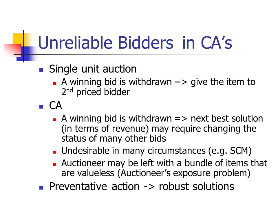 Unreliable Bidders in CA's Single unit auction A winning bid is withdrawn => give the item to 2 nd priced bidder CA A winning bid is withdrawn => next best solution (in terms of revenue) may require changing the status of many other bids Undesirable in many circumstances (e.g.