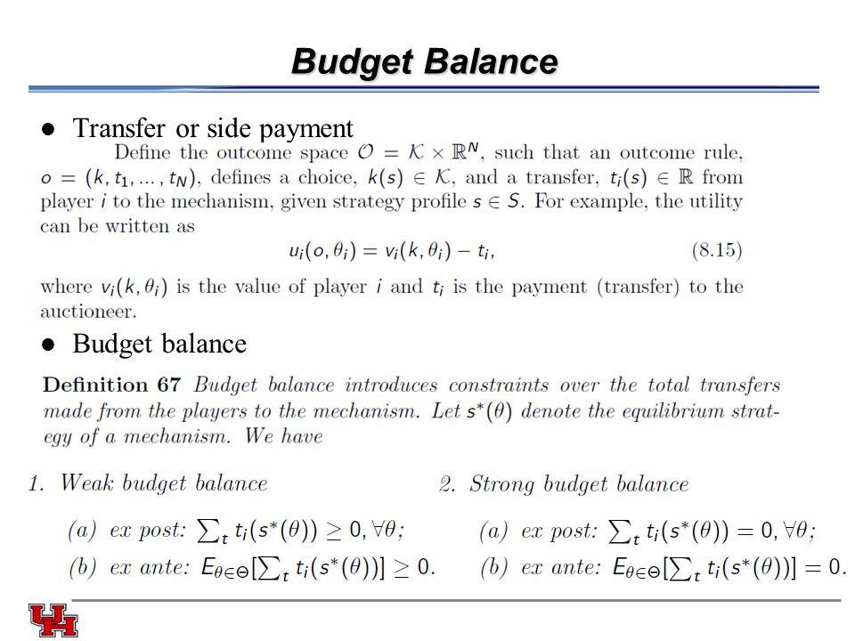 Budget Balance Transfer or side payment Budget balance