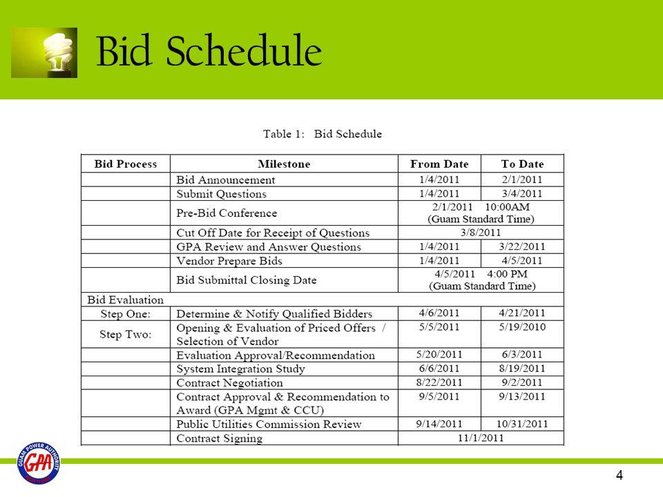 4 Bid Schedule