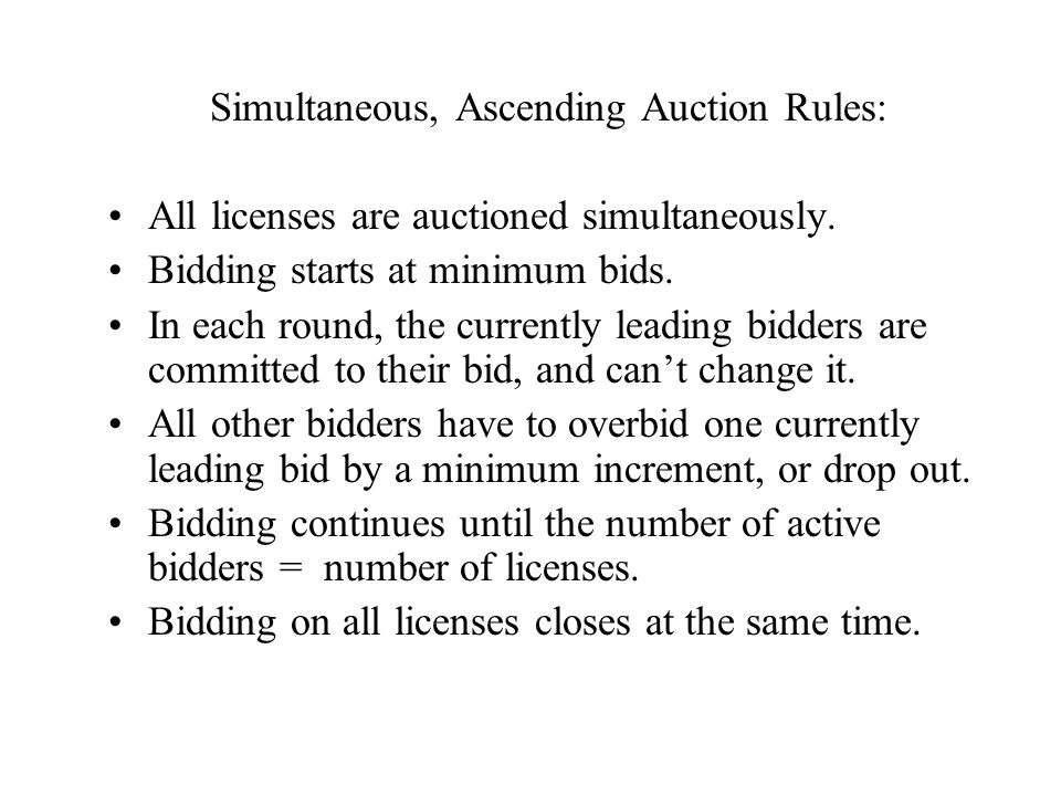 Simultaneous, Ascending Auction Rules: All licenses are auctioned simultaneously.
