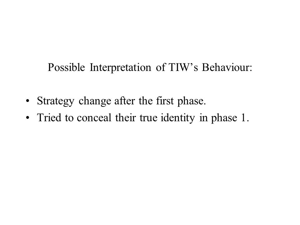 Possible Interpretation of TIW's Behaviour: Strategy change after the first phase.