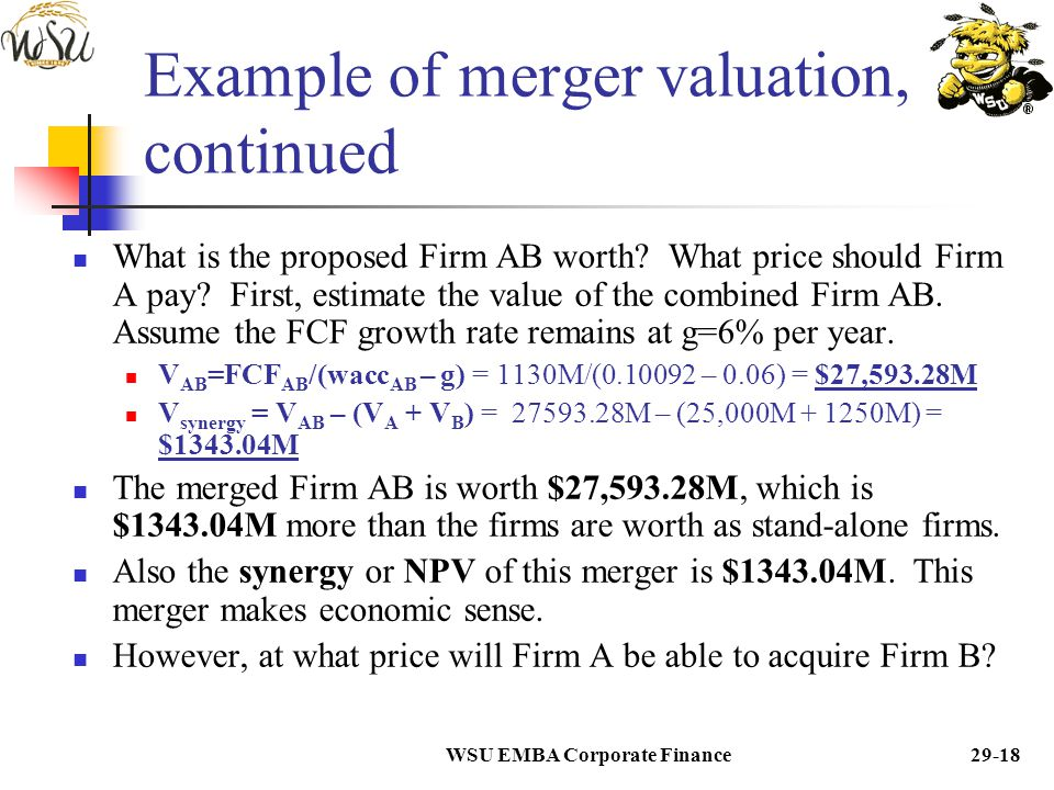 WSU EMBA Corporate Finance29-17 Example of merger valuation, continued What will be the Weighted Average Cost of Capital or WACC of the combined Firm