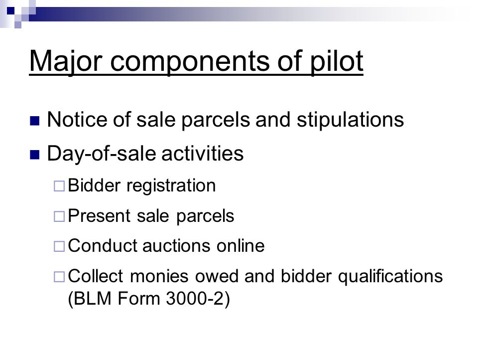 Major components of pilot Notice of sale parcels and stipulations Day-of-sale activities  Bidder registration  Present sale parcels  Conduct auctions online  Collect monies owed and bidder qualifications (BLM Form 3000-2)