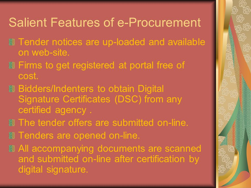 Dept User Created by the administrator Password sent by mail Roles are defined as req'd Tender Creator,Publisher, Bid Opener & Evaluator DSC is attached by the user later
