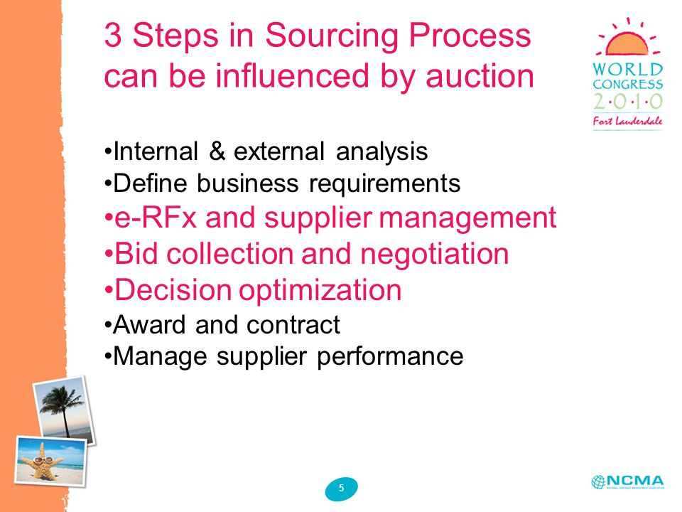 3 Steps in Sourcing Process can be influenced by auction 5 Internal & external analysis Define business requirements e-RFx and supplier management Bid collection and negotiation Decision optimization Award and contract Manage supplier performance