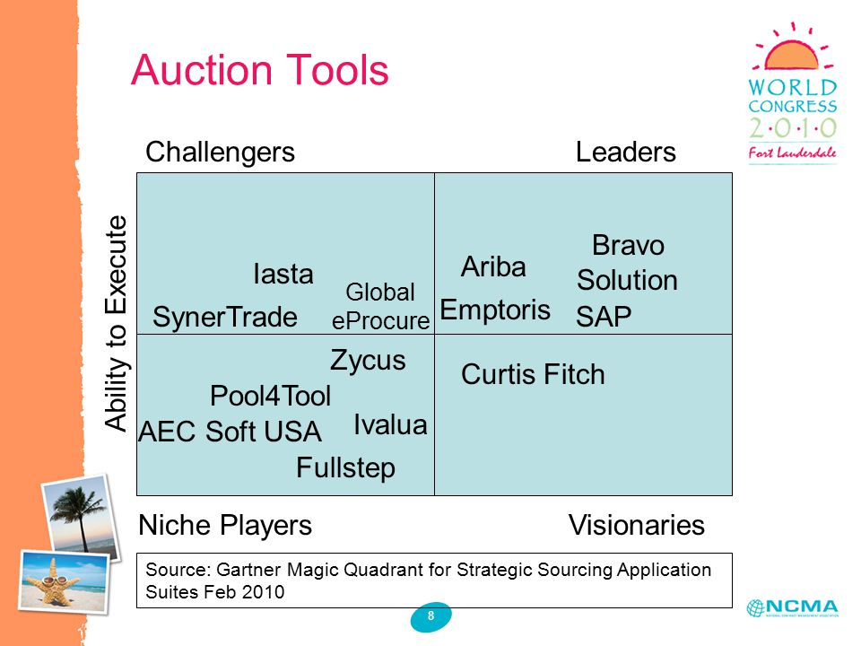 Auction Tools 8 Source: Gartner Magic Quadrant for Strategic Sourcing Application Suites Feb 2010 Iasta SynerTrade Ariba AEC Soft USA Pool4Tool Zycus SAP Bravo Solution Emptoris Fullstep Ivalua Curtis Fitch Global eProcure ChallengersLeaders Niche PlayersVisionaries Ability to Execute
