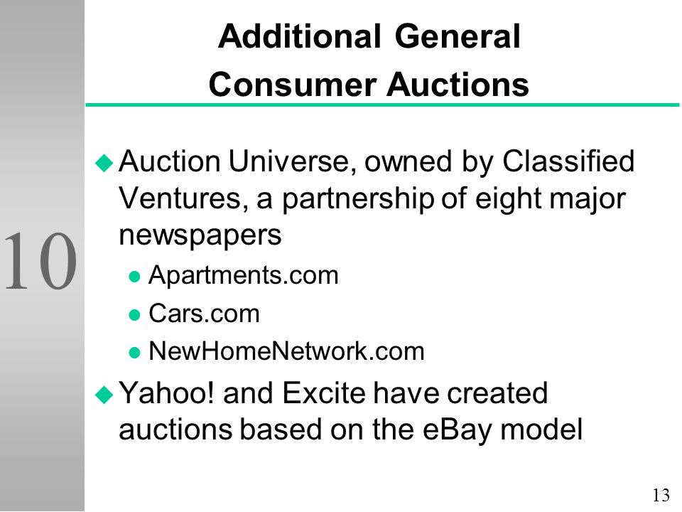 13 10 Additional General Consumer Auctions u Auction Universe, owned by Classified Ventures, a partnership of eight major newspapers l Apartments.com l Cars.com l NewHomeNetwork.com u Yahoo.