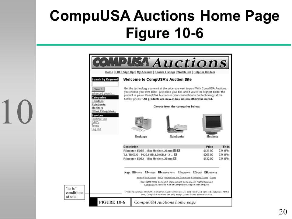 20 10 CompuUSA Auctions Home Page Figure 10-6
