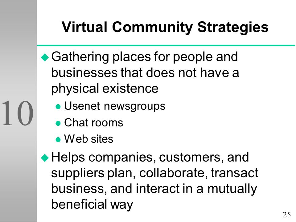 25 10 Virtual Community Strategies u Gathering places for people and businesses that does not have a physical existence l Usenet newsgroups l Chat rooms l Web sites u Helps companies, customers, and suppliers plan, collaborate, transact business, and interact in a mutually beneficial way