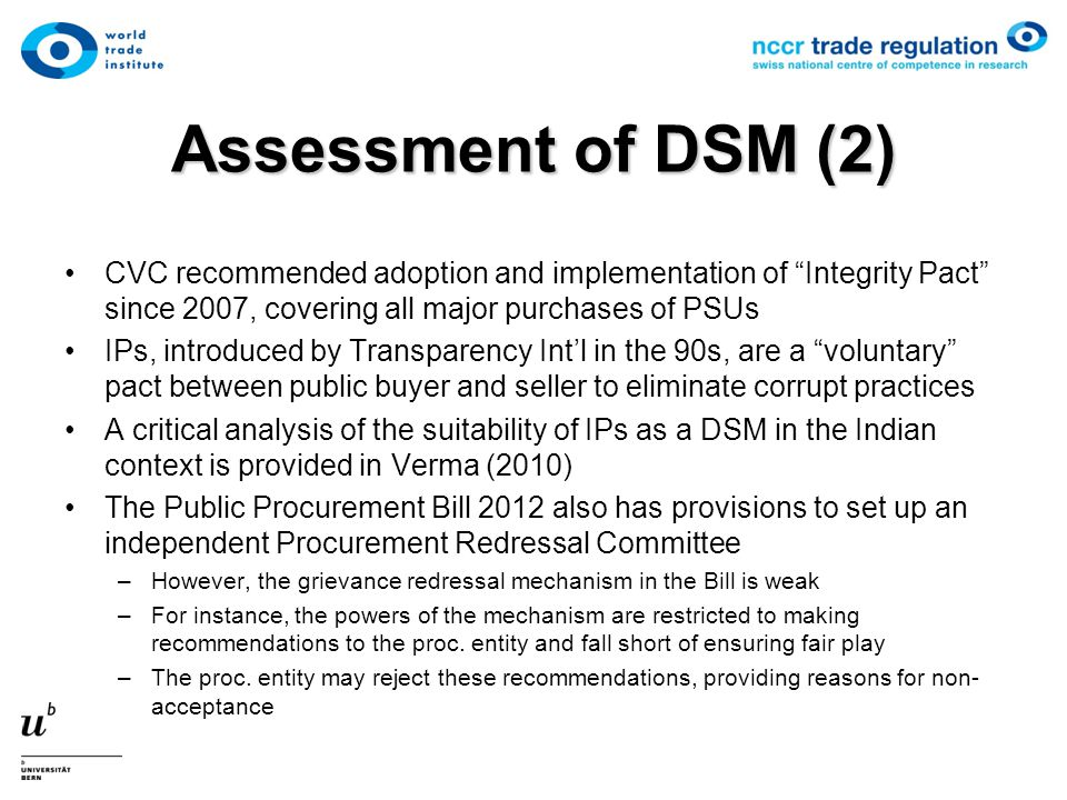 "Assessment of DSM (2) CVC recommended adoption and implementation of ""Integrity Pact"" since 2007, covering all major purchases of PSUs IPs, introduced"
