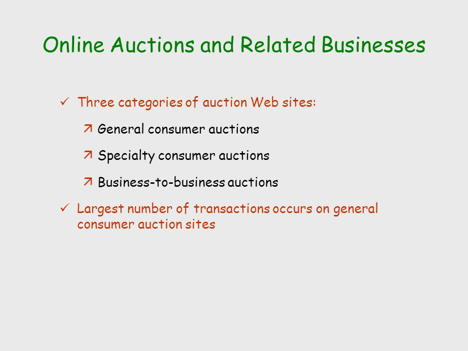 Online Auctions and Related Businesses Three categories of auction Web sites: äGeneral consumer auctions äSpecialty consumer auctions äBusiness-to-business auctions Largest number of transactions occurs on general consumer auction sites