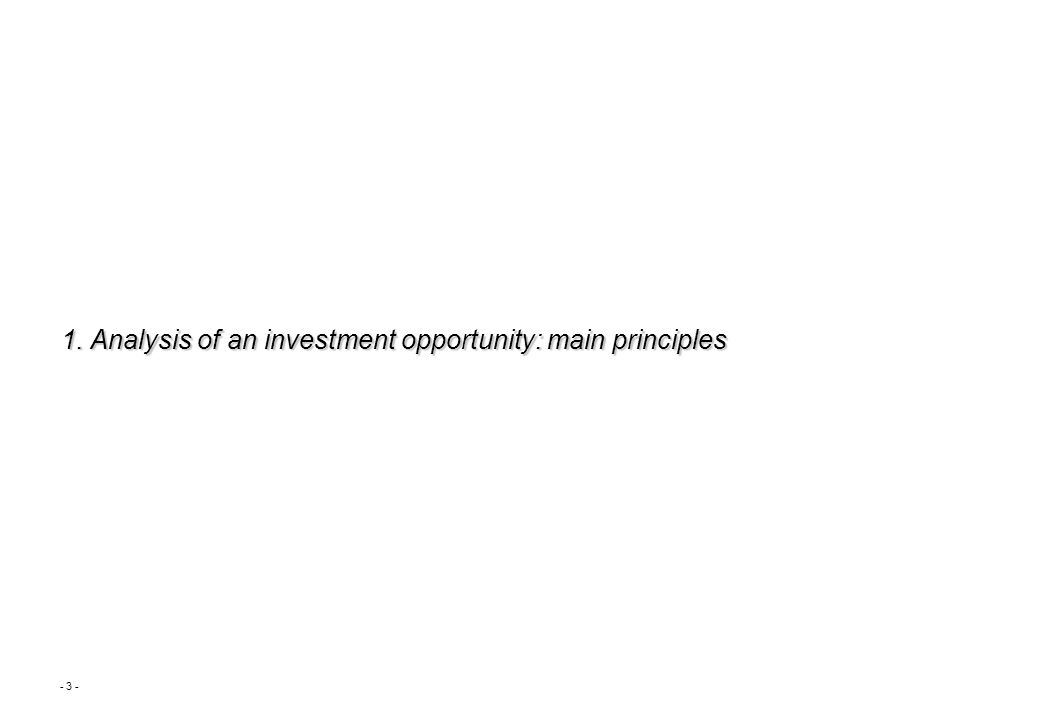 - 3 - 1. Analysis of an investment opportunity: main principles