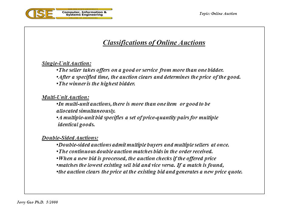 Jerry Gao Ph.D.5/2000 Classifications of Online Auctions Topic: Online Auction Single-Unit Auction: The seller takes offers on a good or service from more than one bidder.