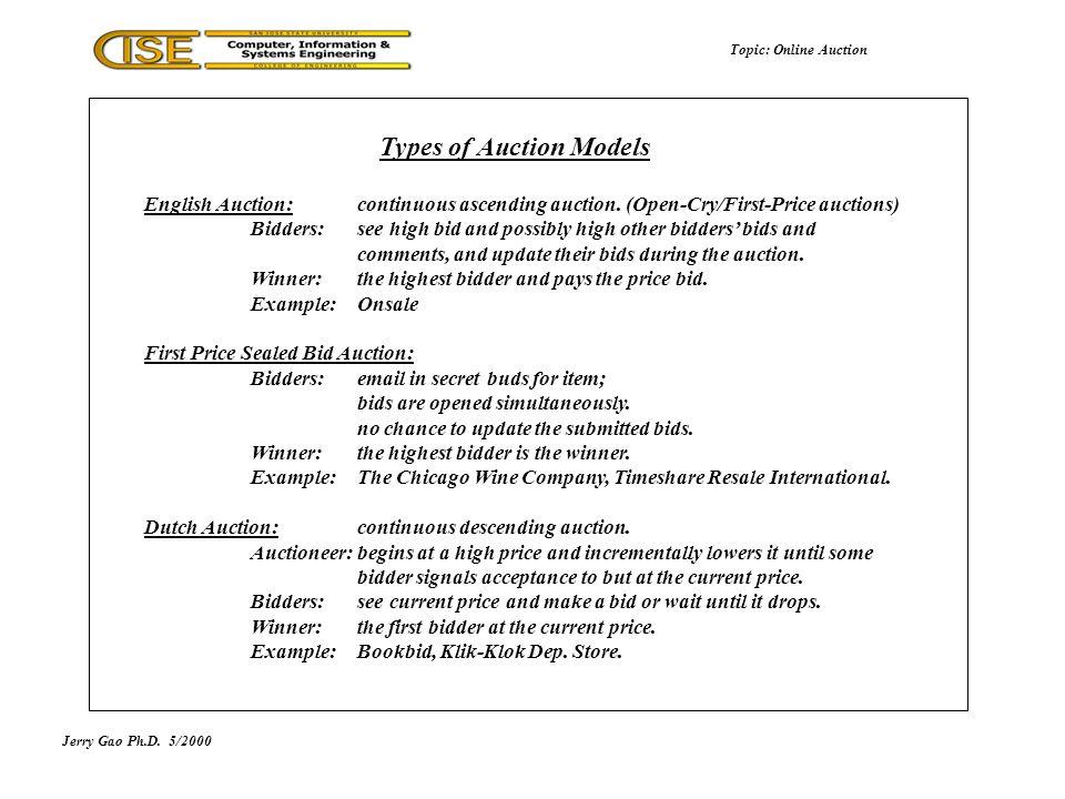 Jerry Gao Ph.D.5/2000 Types of Auction Models Topic: Online Auction English Auction: continuous ascending auction.