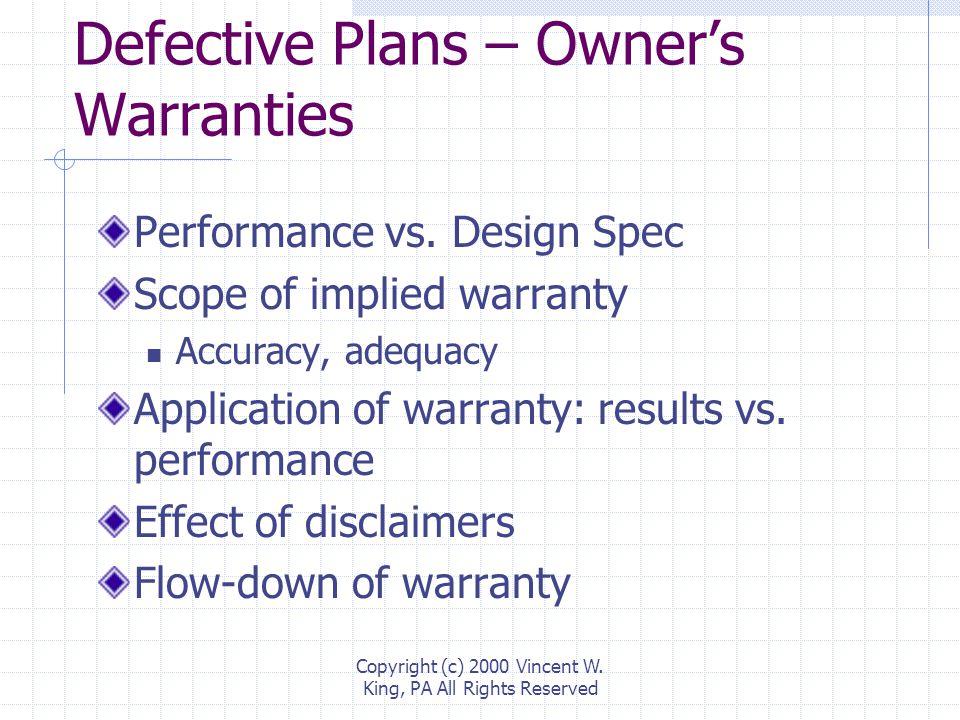 Defective Plans Owner's Warranties Contractor's Duties Damage Recovery