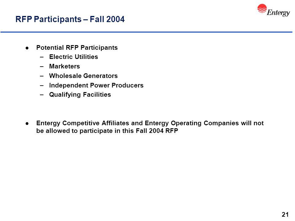 21 RFP Participants – Fall 2004 l Potential RFP Participants –Electric Utilities –Marketers –Wholesale Generators –Independent Power Producers –Qualif