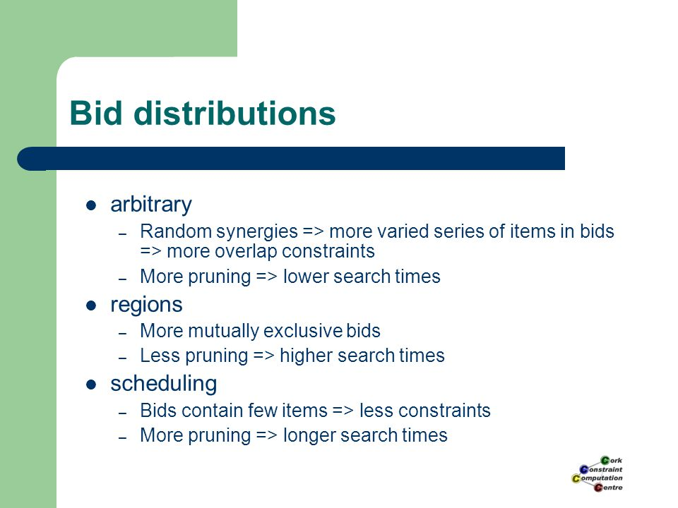 Bid distributions arbitrary – Random synergies => more varied series of items in bids => more overlap constraints – More pruning => lower search times regions – More mutually exclusive bids – Less pruning => higher search times scheduling – Bids contain few items => less constraints – More pruning => longer search times