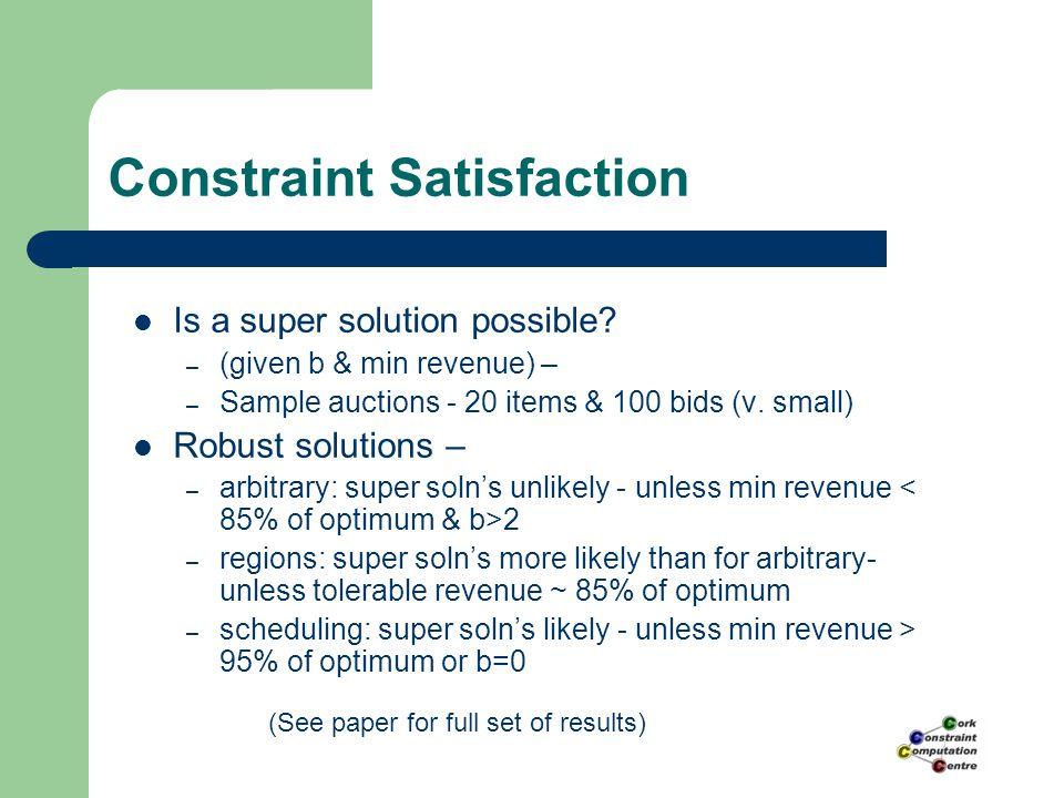 Constraint Satisfaction Is a super solution possible.
