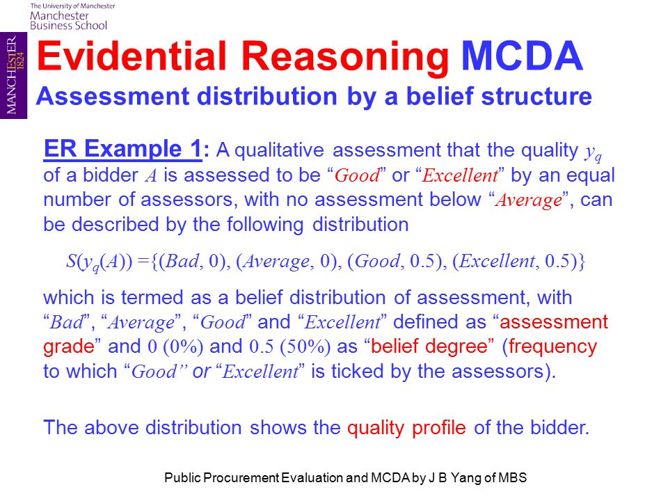 Evidential Reasoning MCDA Assessment distribution by a belief structure ER Example 1 : A qualitative assessment that the quality y q of a bidder A is assessed to be Good or Excellent by an equal number of assessors, with no assessment below Average , can be described by the following distribution S(y q (A)) ={(Bad, 0), (Average, 0), (Good, 0.5), (Excellent, 0.5)} which is termed as a belief distribution of assessment, with Bad , Average , Good and Excellent defined as assessment grade and 0 (0%) and 0.5 (50%) as belief degree (frequency to which Good or Excellent is ticked by the assessors).