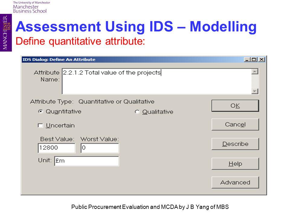 Assessment Using IDS – Modelling Define quantitative attribute: Public Procurement Evaluation and MCDA by J B Yang of MBS