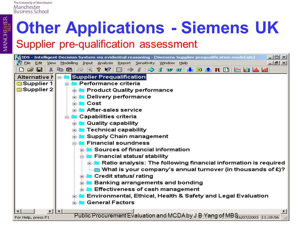 Other Applications - Siemens UK Supplier pre-qualification assessment Public Procurement Evaluation and MCDA by J B Yang of MBS