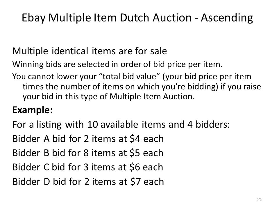 Descending price Multiple item A descending price auction is a type of auction used to sell multiple units of the same item at the same time.