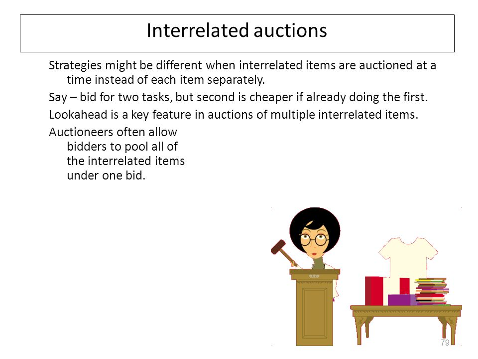 Combinatorial Auction Protocol Setting: one seller (auctioneer) and several potential buyers (bidders); many goods to be sold Bidding: the bidders bid by submitting their valuations to the auctioneer (not necessarily truthfully) Clearing: the auctioneer announces a number of winning bids The winning bids determine which bidder obtains which good, and how much each bidder has to pay.
