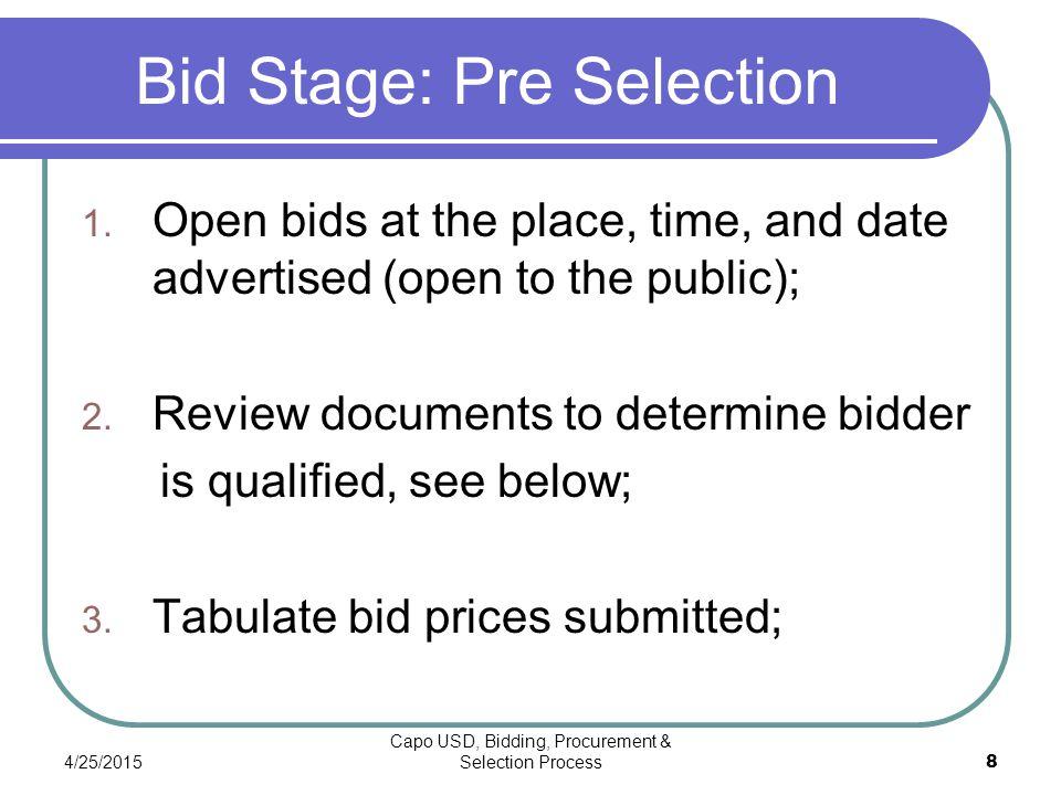 4/25/2015 Capo USD, Bidding, Procurement & Selection Process 8 Bid Stage: Pre Selection 1.