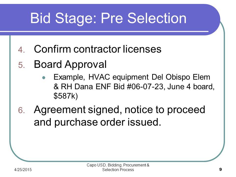 4/25/2015 Capo USD, Bidding, Procurement & Selection Process 9 Bid Stage: Pre Selection 4.